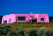Schoolhouse Posters - Old Pink Schoolhouse Gallery Tres Piedras NM Poster by Troy Montemayor