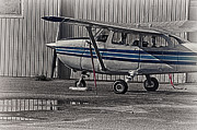 Hdr Photo Prints - Old Plane Tied Up Black White Color Effect HDR Print by Pictures HDR