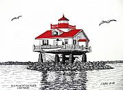 Seacoast  Drawings Metal Prints - Old Plantation Flats Lighthouse Drawing Metal Print by Frederic Kohli
