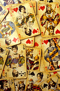 Clubs Photo Framed Prints - Old playing cards Framed Print by Garry Gay