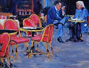 Paris Cafe Scene Posters - Old Poets Poster by Alfred Currier