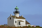 Landmarks Tapestries Textiles Originals - Old Point Loma Lighthouse San Diego California by Christine Till
