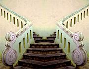 Yellow Building Prints - Old Portugese Stairway Print by Linda  Parker