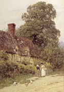 Country Cottage Metal Prints - Old Post Office Brook near Witley Surrey Metal Print by Helen Allingham