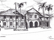 Old Building Drawings - Old Post Office by Ramil R Guerra