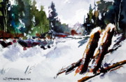 Old Fence Posts Painting Prints - Old Posts in Snow Print by Wilfred McOstrich