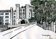 Urban Scene Drawings Framed Prints - Old Powerhouse in Moscow Framed Print by Lelia Sorokina