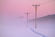Winter Sunset Posters - Old Powerlines Poster by www.WM ArtPhoto.se