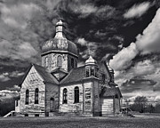 Byzantine Photos - Old Prairie Church and Storm Front by Royce Howland