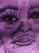Richardson Drawings Posters - Old Purple Women Poster by Sandra Richardson