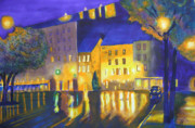 St. Patrick Paintings - Old Quebec-Reflections St Patricks Sq by Robert P Hedden
