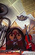 Tuba Prints - Old radio and music instruments Print by Garry Gay