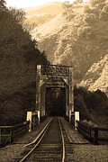 Railroads Photos - Old Railroad Bridge at Near Historic Niles District in California . 7D10745 . sepia by Wingsdomain Art and Photography