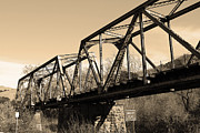 Railroads Photos - Old Railroad Bridge at Union City Limits near Historic Niles District in California . 7D10736 . sepi by Wingsdomain Art and Photography