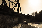 Railroads Photos - Old Railroad Bridge at Union City Limits near Historic Niles District in California . 7D10742 .sepia by Wingsdomain Art and Photography