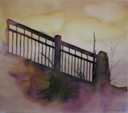 Fog Tapestries - Textiles - Old Railroad Bridge by Carolyn Doe