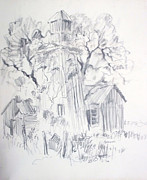 Old Fence Posts Drawings Prints - Old Ranch Tower Print by Bill Joseph  Markowski