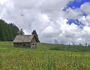 Ranchers Prints - Old Ranchers Summer Cabin Redone Print by Ernie Echols