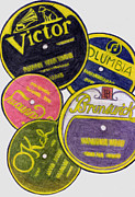Montage Drawings Posters - Old Record Labels Poster by Mel Thompson