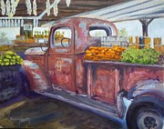 Rusty Truck Paintings - Old Red at the Farmers Market by Sharon Weaver