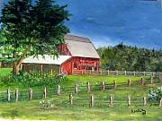 Old Barn Paintings - Old Red Barn by Amelie Gates