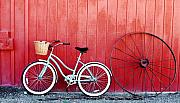 Wagon Wheel Prints - Old Red Barn and Bicycle Print by Margaret Hood
