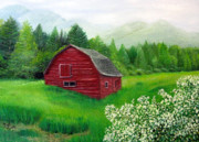 Old Barn Paintings - Old Red Barn by Deborah Macy