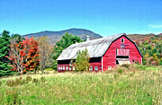 Fall Colors Digital Art Originals - Old Red Barn In Vermont by James Steele
