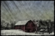 Red Barn Digital Art - Old Red Barn in Winter by Bill Cannon