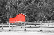 Split Rail Fence Framed Prints - Old Red Barn Framed Print by Rob Byron