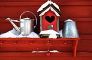 Watering Can Posters - Old red birdhouse Poster by Sandra Cunningham