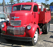 Santa Monica Digital Art Metal Prints - Old  Red  Chevrolet  Dump  Truck Metal Print by Carl Deaville