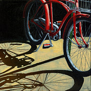 Linda Apple Photo Metal Prints - Old Red Classic - bike painting Metal Print by Linda Apple