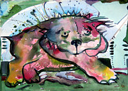 Puppy Mixed Media Originals - Old Red Dog by Mindy Newman