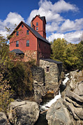 Grist Mill Prints - Old Red Mill - D000400 Print by Daniel Dempster