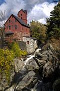 Fall River Scenes Posters - Old Red Mill Jericho Vermont Poster by Paul Cannon