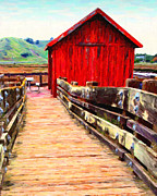 Red Buildings Digital Art Posters - Old Red Shack Poster by Wingsdomain Art and Photography