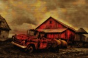 Barn Digital Art - Old Red Truck and Barn by Bill Cannon