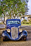 Carol Leigh Framed Prints - Old Roadster - Blue Framed Print by Carol Leigh