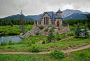 Colorado Mountain Greeting Cards Prints - Old Rock Church On A Cloudy Day Print by James Steele