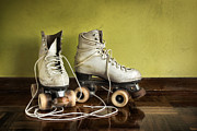 Wood Wheel Framed Prints - Old Roller-Skates Framed Print by Carlos Caetano