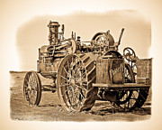 Sephia Photo Framed Prints - Old Russell Tractor Framed Print by Steve McKinzie