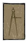 Dividers Prints - Old rusted adjustable compass Print by Steeve Dubois