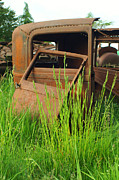 Rusted Cars Posters - Old Rusted Body Door Poster by Randy Harris
