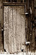 Old Barn Posters - Old Rustic Black and White Barn Woord Door Poster by James Bo Insogna