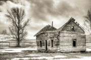Sepia Acrylic Prints - Old Rustic Log House in the Snow by Dustin K Ryan