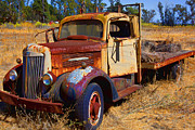 Wreck Photo Prints - Old rusting flatbed truck Print by Garry Gay