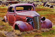 Ghost Town Posters - Old rusty car Bodie Ghost Town Poster by Garry Gay