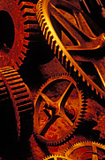 Old Rusty Gears Print by Garry Gay