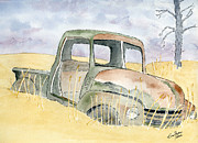 Vehicle Drawings Posters - Old rusty truck Poster by Eva Ason